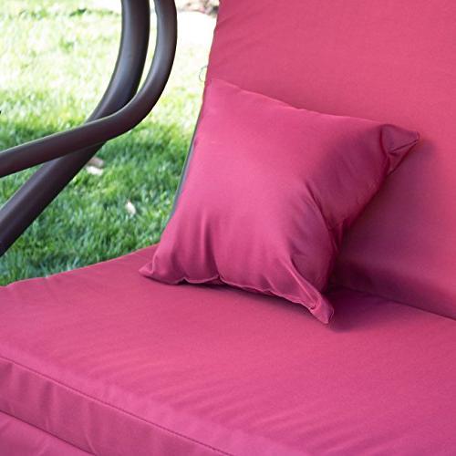 Belleze Outdoor Motion Gilder Converting Rocking Chair Blocker 3 Seat Flatbed Cool Seater Burgundy