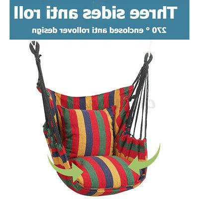 Canvas HammockHanging Chair Porch Swing Patio Outdoor W/2 Pillows&Bag