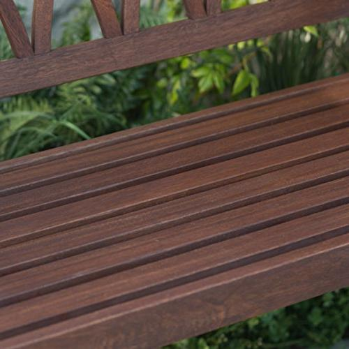 Classically Curved 4 ft. Porch Swing Crafted From Eucalyptus Wood Brown