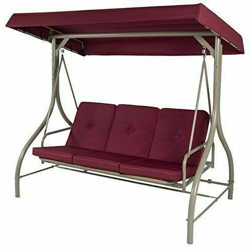 Best Choice Products 3-Seat Converting Patio Swing Hammock - Burgundy