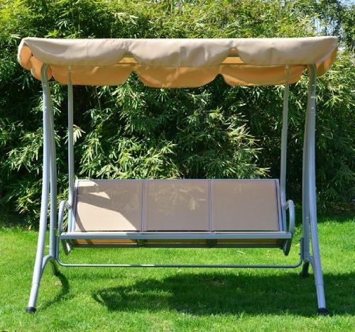 Outsunny Covered Outdoor Swing Bench with Frame, Sand