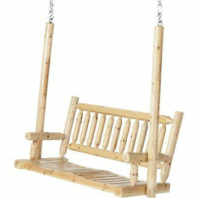 deluxe cedar log porch swing