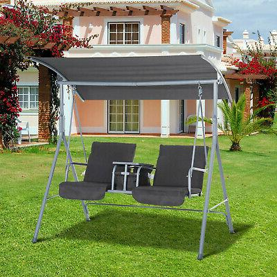 double outdoor covered porch swing stand
