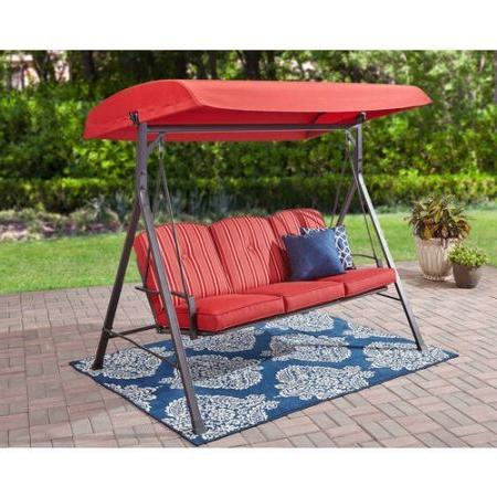 Mainstay 3-Seat Cushion Swing, Red