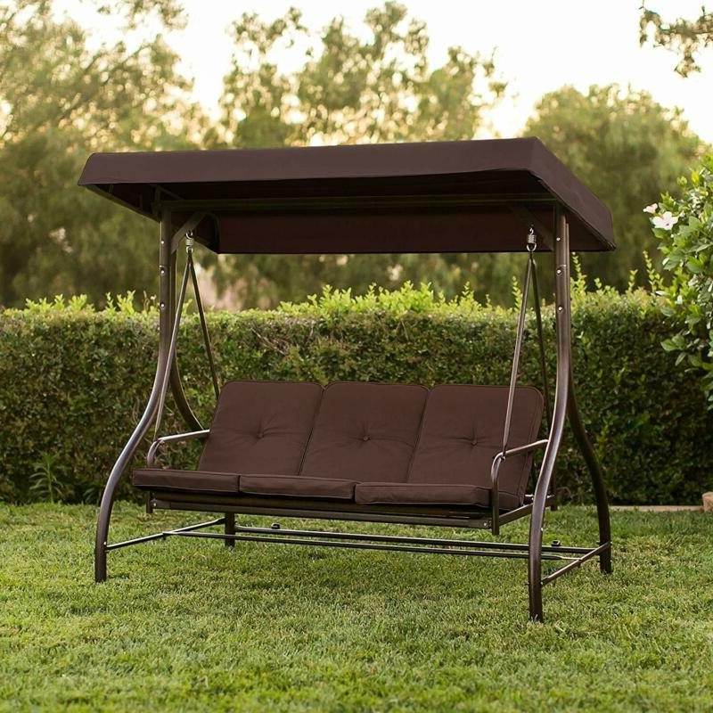 front porch 3 person swing set outdoor