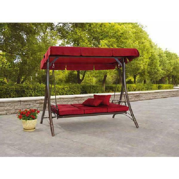 Front Swing Set Outdoor Canopy Swinging 3-Person