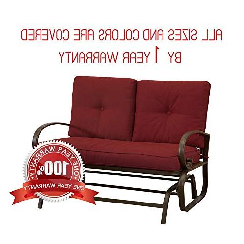Homevibes Porch Glider Bench Furniture Rocker Outside Seats Lounge Cushions, Red