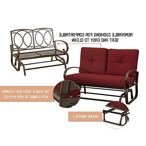 Homevibes Outdoor Glider Bench Furniture Rocker Outside Chair Swing Seats Cushions,