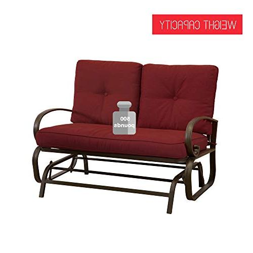 Homevibes Glider Bench Outside Chair Seats Lounge Cushions, Red