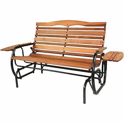 glider wood bench patio rocker