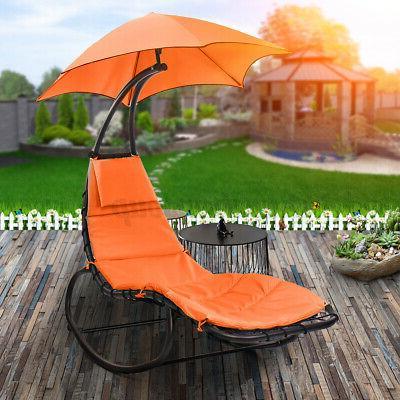 Hammock Hanging Chaise Lounger Patio Sun Shade Canopy