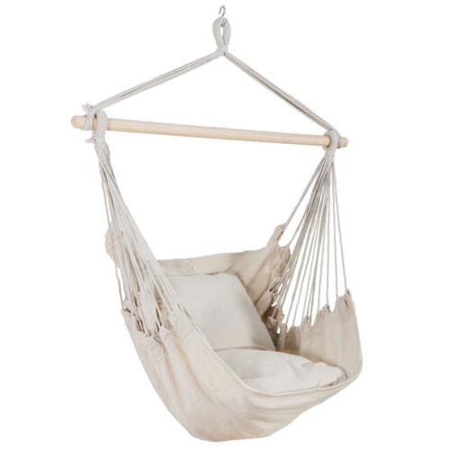Beige Hammock Chair Swing Hanging Rope Net Chair Porch Patio