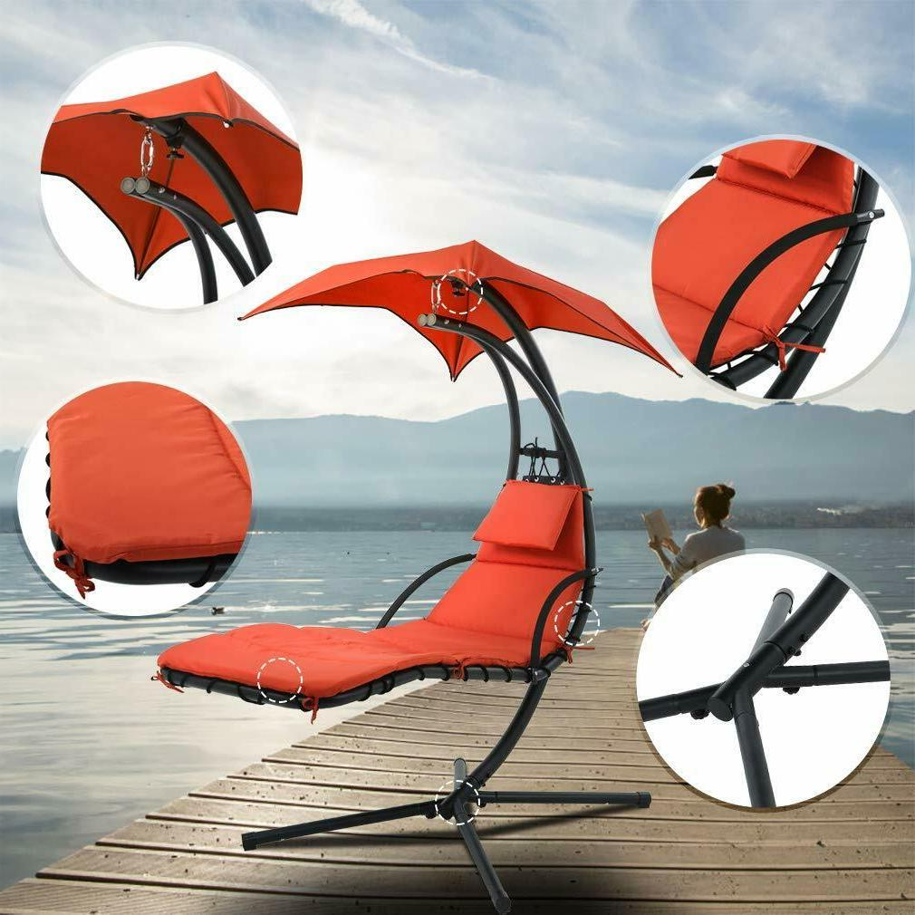 Hanging Chaise Lounger Chair Arc Air Porch Swing Red