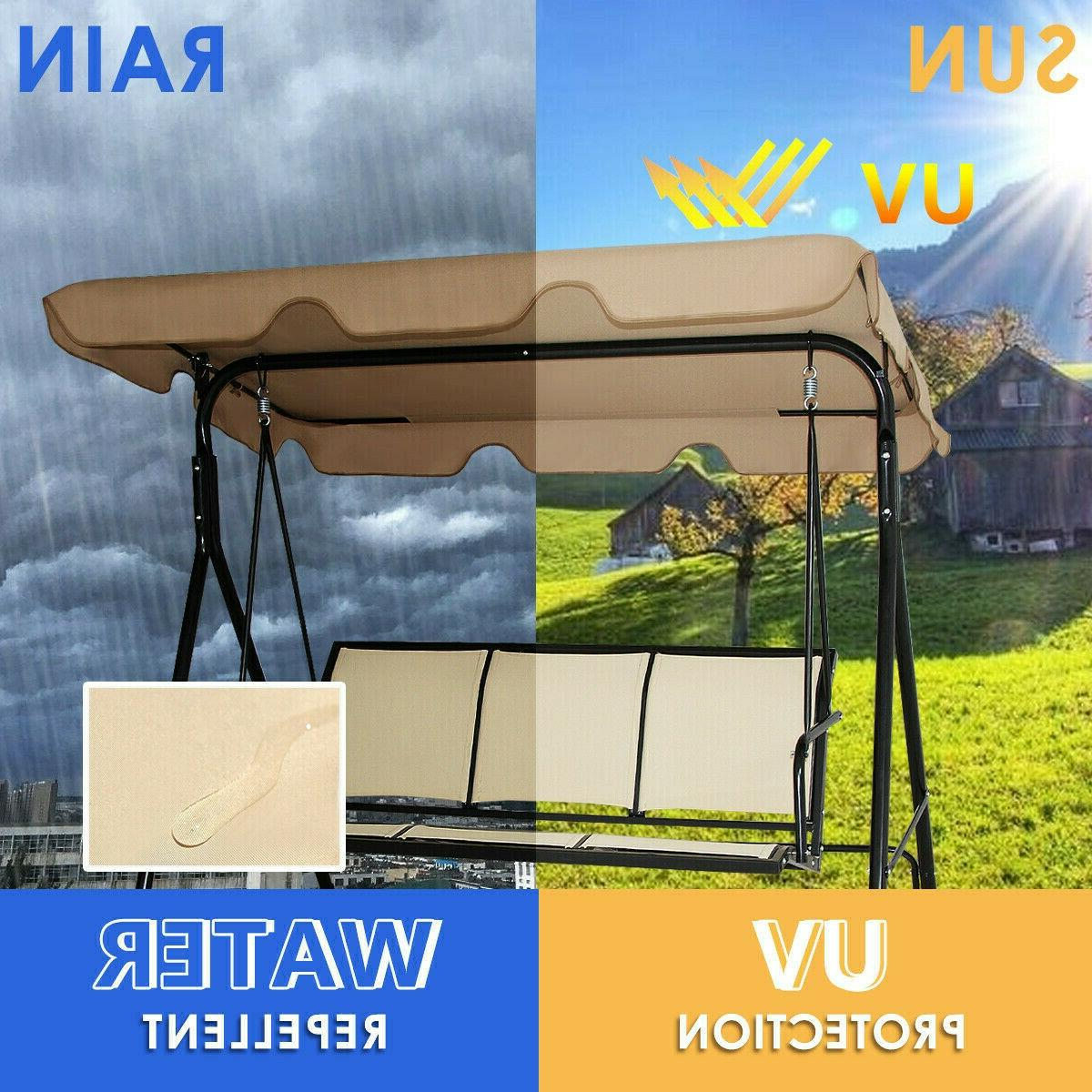 Outdoor Swing Patio Chair Person Seat Hammock Porch Bench Beige