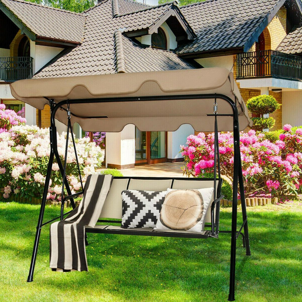 Outdoor Swing Patio Chair Lounge 3 Person Seat Hammock Porch Bench Beige
