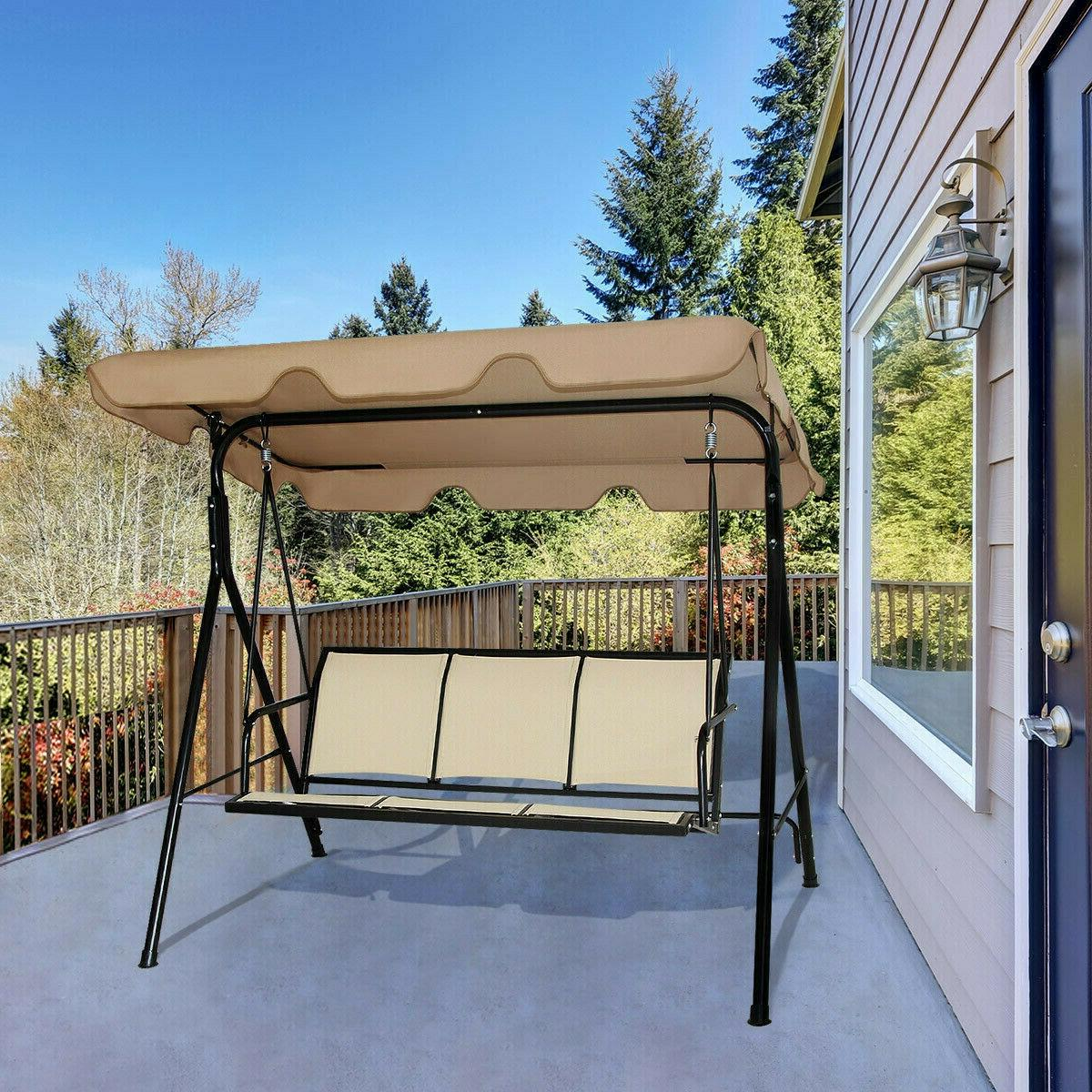 Outdoor Canopy Chair Seat Beige