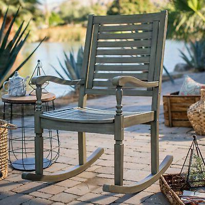 Indoor Outdoor Wood Porch Rocking Chair Vintage Gray Patio R