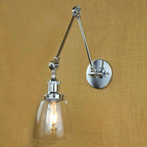 Industrial Mount Glass Adjustable Swing Arm Wall Sconce