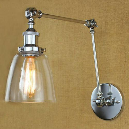 industrial wall mount light glass shade retro