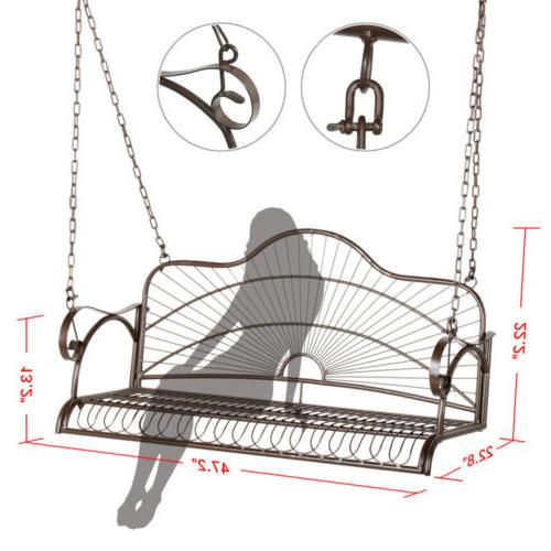 Iron Hanging Patio Swing Bench Backyard
