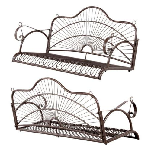 Iron Hanging Porch Swing With Chain Bench Seat Outdoor Deck Backyard
