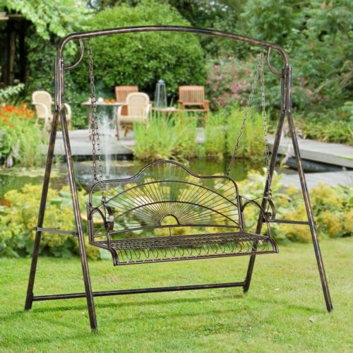 Iron Swing With Chain Bench Seat Outdoor Backyard
