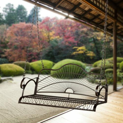 Iron Hanging Swing With Chain Chair Bench Backyard