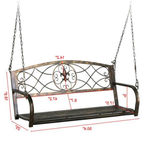 Iron Hanging Swing Bench & Frame Deck Yard