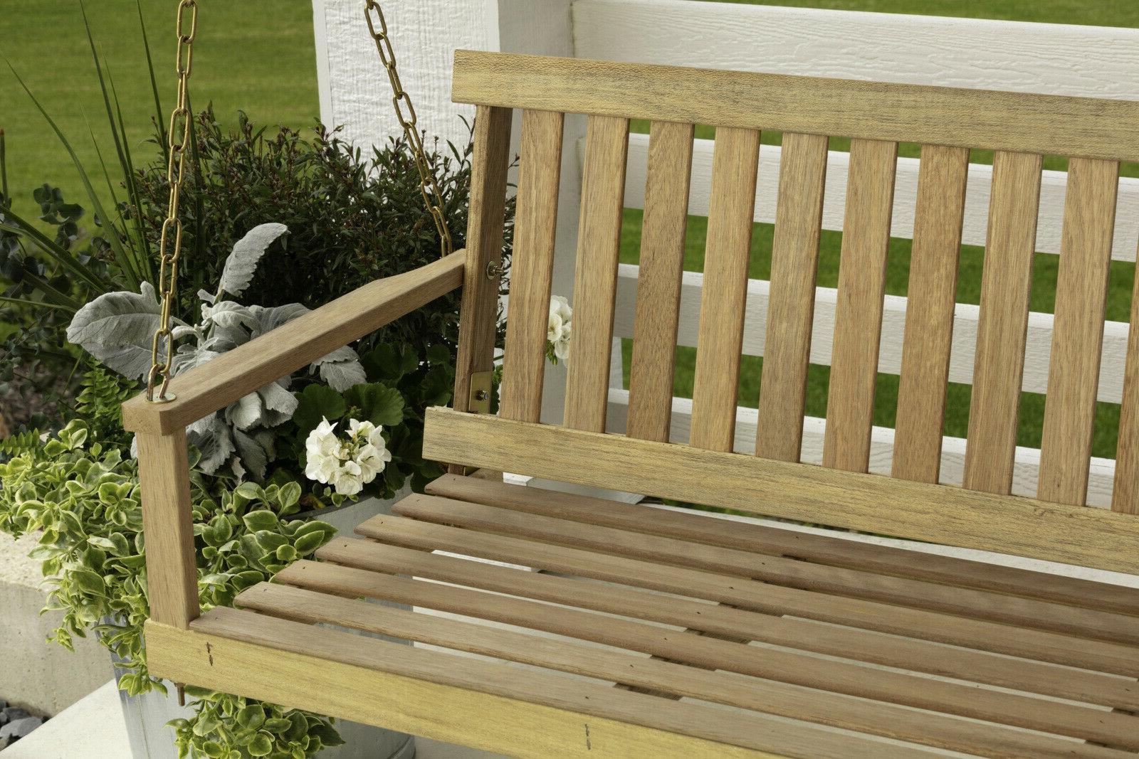 Wooden Porch Swing 5 ft Natural Wood Patio Outdoor Yard Gard