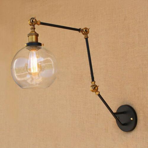 Long Sconce Adjustable Lamp Clear Glass Wall Light