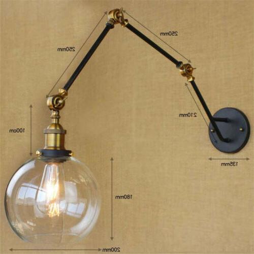 Long Arm Sconce Adjustable Lamp Glass Globe Wall Light