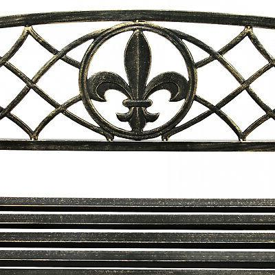 Metal Fleur-De-Lis Hanging Porch Swing Outdoor Black NEW