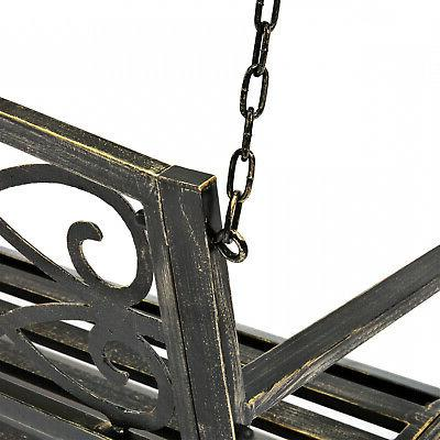Metal Hanging Porch Swing Black Bronze NEW