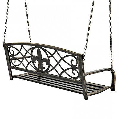 Metal Fleur-De-Lis Hanging Patio Porch Swing Outdoor Black