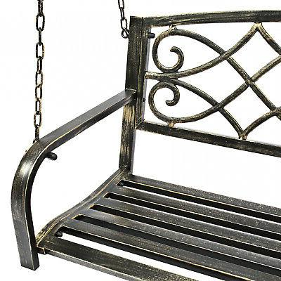 Metal Fleur-De-Lis Hanging Porch Swing Outdoor Furniture Black