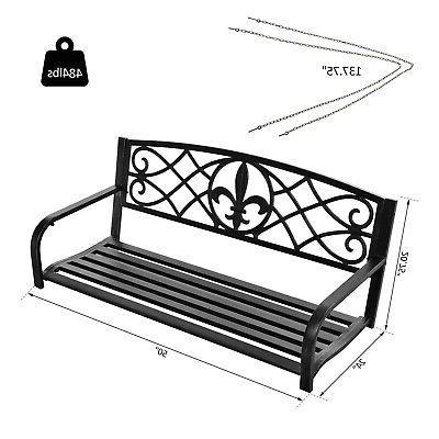 Outsunny Fleur-De-Lis Porch Swing Bench,