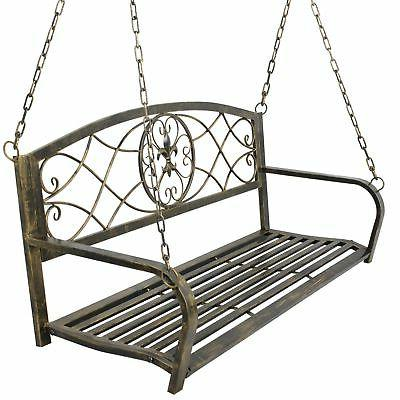 Porch Swing Iron Outdoor Metal 2 Person