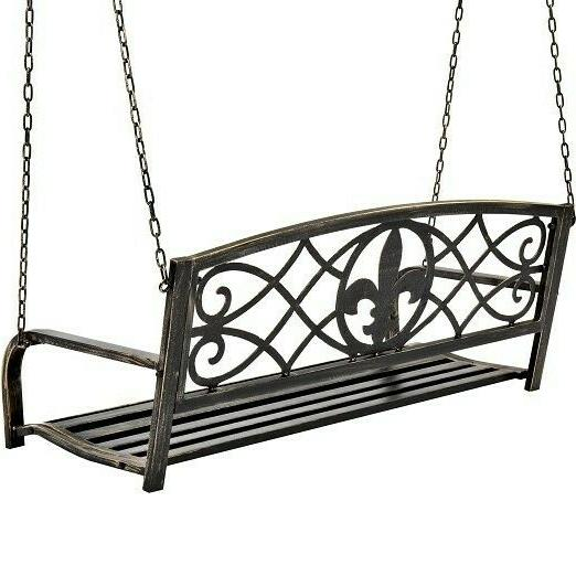 Metal Porch Swing Outdoor Chair Furniture Seat Vin