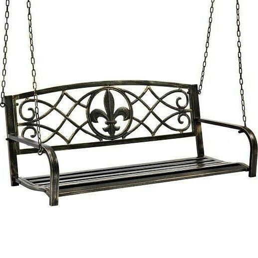 metal porch swing patio outdoor garden bench