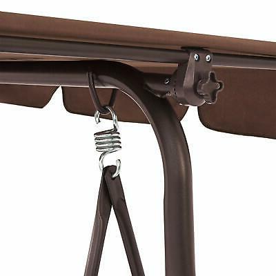 Outdoor 2-Person Patio Porch Swing Hammock Canopy Loveseat Color Brown