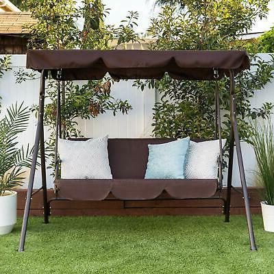 Outdoor Swing Hammock Bench Canopy Loveseat Color Brown