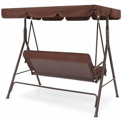 Outdoor 2-Person Porch Swing Hammock Loveseat Color Brown