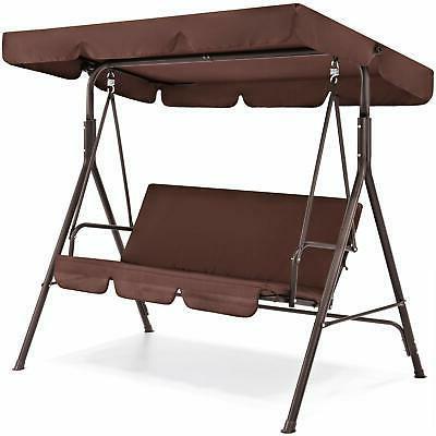 Outdoor 2-Person Patio Porch Swing Hammock Bench Canopy Love