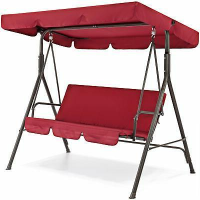 Outdoor Canopy Porch Swing Red
