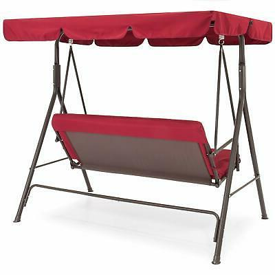 Outdoor 2-Person Swing w/ Canopy Swing Hanging Red