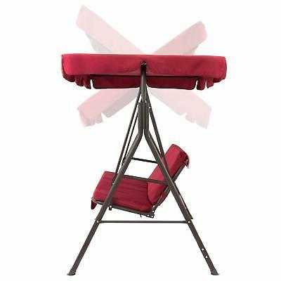 Outdoor Swing w/ Canopy Patio Swing Seat Red