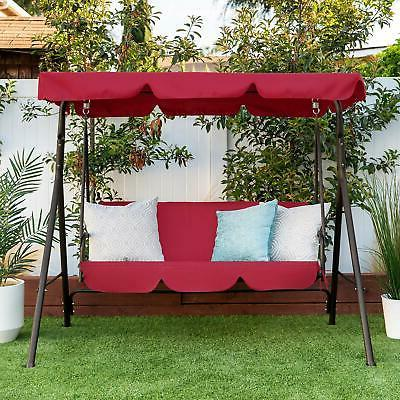 Outdoor 2-Person Swing w/ Canopy Patio Porch Steel Swing Dou