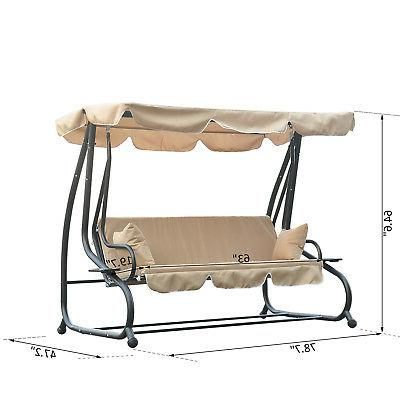 Outdoor Porch Swing Hammock Bench Canopy Loveseat Convertible Bed