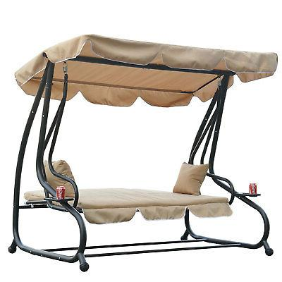 Outdoor Swing Bench Loveseat Convertible Bed