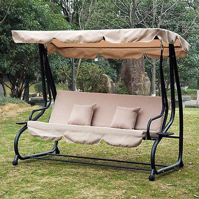 Outdoor 3 Person Patio Porch Swing Hammock Bench Canopy Loveseat Convertible Bed